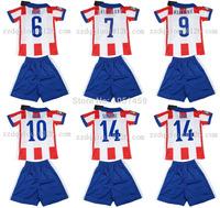 Top quality youth 2015 Madrid Soccer Jerseys GRIEZMANN MANDZUKIC ARDA KOKE GABI SIMEONE Children kids shirts football clothing