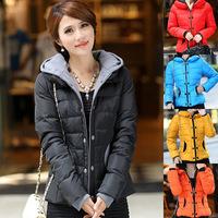 2014 winter women's  Slim short  coat large size cotton padded hooded