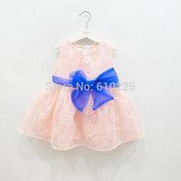 New 2014 Children Clothing Girls' Dress Lace Flower Baby Girls Yarn Dress Cute Summer Dress Kids Sleeveless one-piece