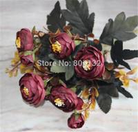 "6 Stems Autumn Camellia 28cm/11"" 6Pcs/lot Artificial Simulation Silk Rose Flower Bud Aquatic Bush for Wedding Flower"