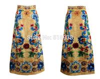 New 2014 autumn winter women vintage fashion brand runway long skirt print floor length maxi beading sequined jacquard skirts