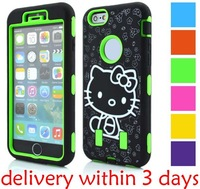 For iphone6 Plus Hybrid Cartoon Animal print Round hole Ballistic Hard Cases for iphone 6 5.5inch 6colors spot wholesale 50pcs