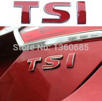 3D Car Sticker TSI Trunk Badge Full Red 'TSI' Emblem For 1.8T VW Scirocco Jetta Bora Passat Polo Tiguan Golf(China (Mainland))