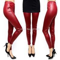 free shipping free size Korean style female  new fashion leather women's Leggings wholesale slim slim elastic solid nine pants