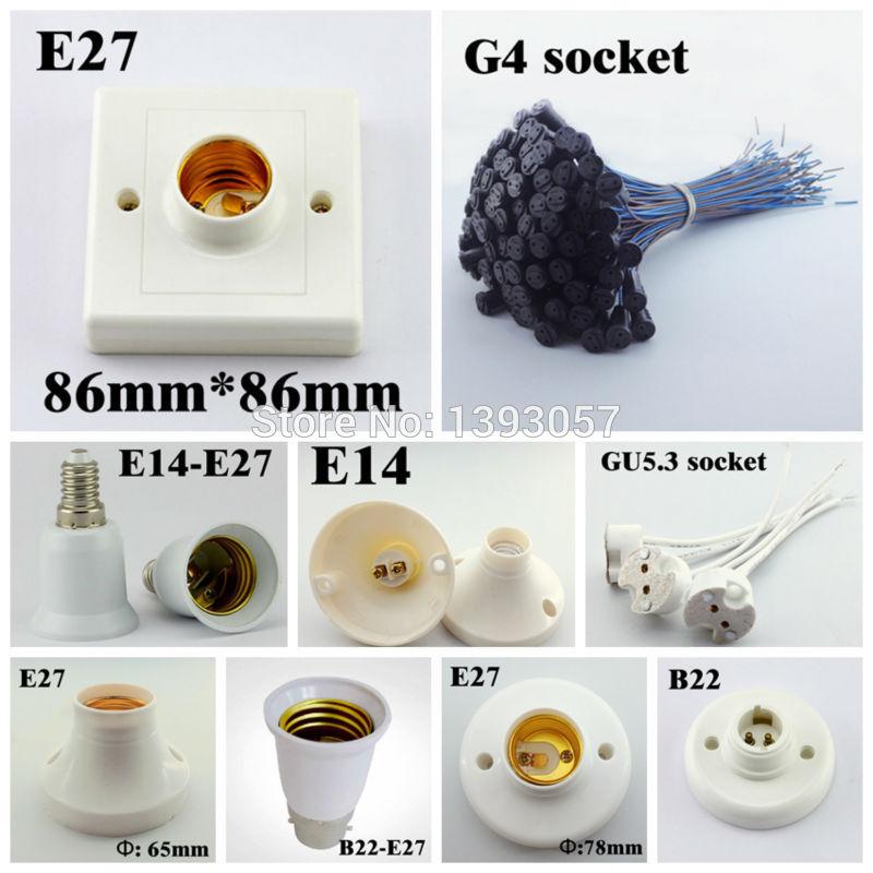 20pcs/lot E27 E14 B22 G4 Lamp Base Holder, E40 B15 B14 Lamp Socket, GU5.3 GU10 MR16 Bulb Adapter(China (Mainland))