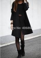 Autumn new temperament large size women irregular loose and long sleeve T-shirt Sweater Girl slim backing