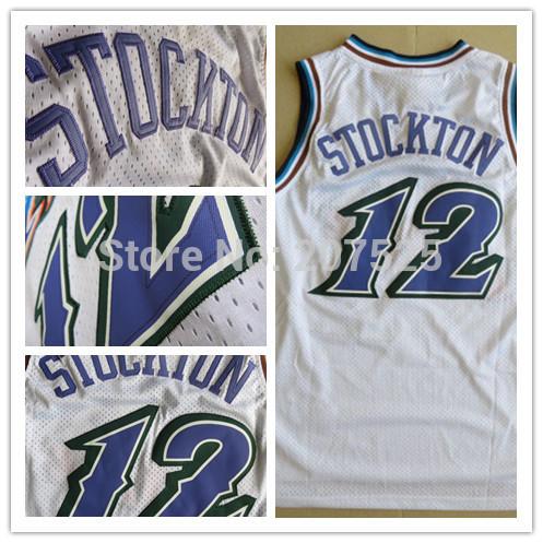 Utah #12 John Stockton White Basketball Jersey, Cool Snow Mountain Mesh Stockton Throwback Jerseys White Basketball Shirts(China (Mainland))