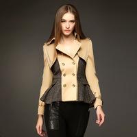 twods 2014 new autumn women british style trench coat Double Breasted skirt hem short overcoat female outwear luxury brand