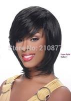 New Fashion Heat-resistant Fiber Short Golden Black  Synthetic Full  Wig For Women