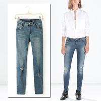 2014 Hot Winter Women Worn Thin Slim Washed Denim Jeans Female Distrressed Ripped Skinny Jeans Pants Trousers Legging
