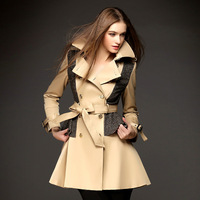twods 2014 new fashion women british style trench coatvery good belted Double Breasted long overcoat female outwear