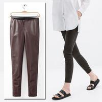 2014 New Vintage Trendy Winter Slim Women Elasticized Waist PU Faux Leather Skinny Pants Trousers Legging