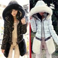 Winter down coat medium-long Women lace patchwork short design two ways hooded down coat