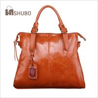 SHUBO Oil Wax Cowhide Leather Bags 2014 Women Vintage Brand Shoulder Bag High Quality Genuine Leather Messenger Handbag SH071