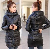 Winter women's slim PU wadded jacket outerwear medium-long down cotton plus size cotton-padded jacket