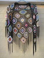 Black Fringed Triangle Shawl Poncho with Tassel in Granny Square Pattern