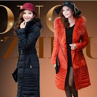 2014 raccoon large fur collar Women Down Jackets Long With Fur Collar Style Goose Down Parkas Khaki Black Brown Lady Down Coats