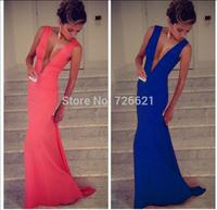 Spring Dress 2015 Autumn Vestidos Women Party Mermaid Dress Red Carpet Soild Casual Dress Deep V Neck Long Maxi Wedding Dresses