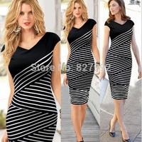 European Style Women Plus size Layers Striped Casual Fashion V-neck Sleeveless Dress Black-white