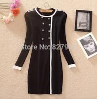 Korean Style Women Casual Fashion Patchwork Button Uniform Design Long Sleeves Slim Knitting Autumn Winter Dress
