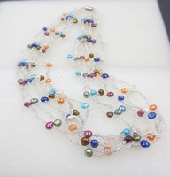wholesale 10pcs 4-5MM 7row multicolor freshwater pearl Necklace fashion jewelry Q15#