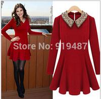 Europe style 2014 New Fashion autumn/winter slim waist women dresses /girl vestidos casual 1680  Free Shipping