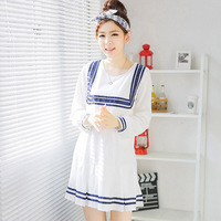 ew school in the autumn of 2014 in Europe and the United States Navy Pleated Dress Code great loose dress pregnant women