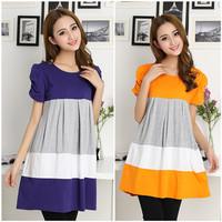 2014 maternity Xia Xinkuan Korean short sleeved dress color matching of pregnant women