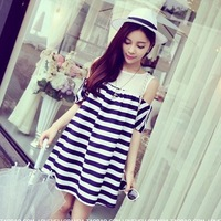 2014 new summer maternity fashion stripe loose sweater dress Strapless splicing doll in pregnant women