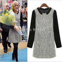 Europe station 2014 New Fashion autumn/winter slim vintage ladies dresses /girl vestidos casual 9153 Free Shipping