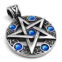 Vintage Stainless Steel Pentagram Pendant Biker Mens Necklace, Blue