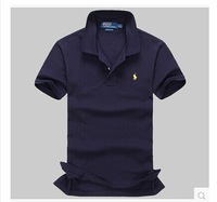 In summer 2014 Korean solid business collar T-shirt man short cotton casual loose big code shirt boy