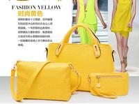 HQ Ladies Yellow Tote Handbag Crocodile Leather Messenger Bag Shoulder Handbag Evening Clutch Bags Designers 2014 Buy 1 Get 3