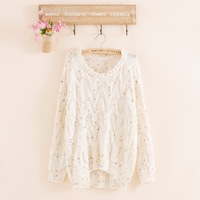 2014 fashion wimen's wool o-neck Hook flower loose long colorful dot print knitted pullover  full sleeve sweater free shipping