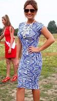 Plus size Vintage elegant OL Dress Celebrity Dresses 2014 New Women Slim printed Bodycon Women Pencil Dress A572