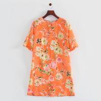 2014 autumn women vintage sweet birds flower tunic o-neck half sleeve A-line brand party dress 201205