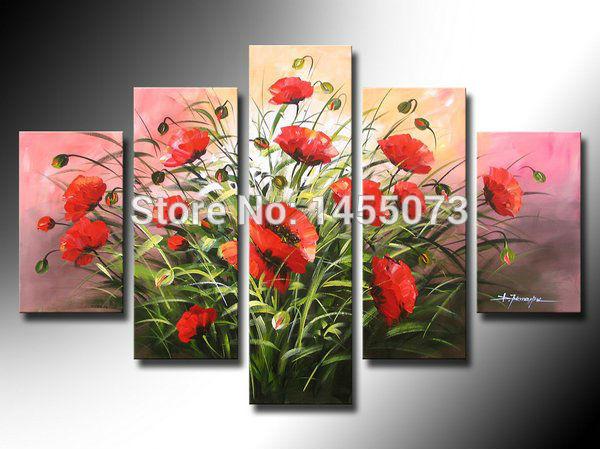 alta- qualidade papoilas vermelhas fundo rosa pintura a óleo na parede arte sala decoração bar 5pcs/set fotos(China (Mainland))