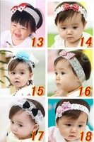 wholesale  mixed 10pcs/lot  Baby Girls Vintage Lace Flower Hairband - Soft Elastic Headband Hair Accessories