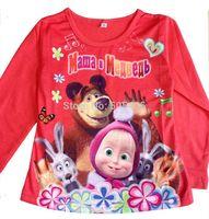 Russia Cartoon t shirts Masha and bear Long Sleeve Boys Girls roupa infantil Kids clothing