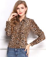 Lady Sexy Long Sleeve Top Shirt Loose V neck Leopard blusas New Fashion 2014 Women Wild Leopard Print Chiffon Blouse