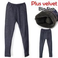Winter thickening velvet warm pants length trousers faux denim women plus size Denim leggings for women Free Shipping 812