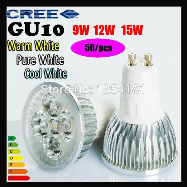 50pcs/lot High power CREE Led Lamp Dimmable GU10 9W 12W 15w 110V 220V Led spot Light Spotlight led bulb downlight lighting(China (Mainland))