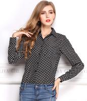 2014 Fahsion Dot Print Women Chiffon Blusas High Quality  Female  Autumn  clothing Brand Loose shirt for Lady