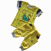 Kids baby suits cartoon elephant alphabet t-shirt + pants 2pcs / set 2014 hot-selling children's clothing boy free shipping