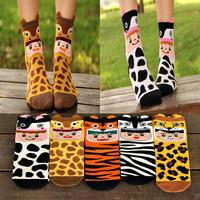 Crazsox new style autumn and winter cartoon wool socks women cute leopard socks thigh high cotton 3D socks
