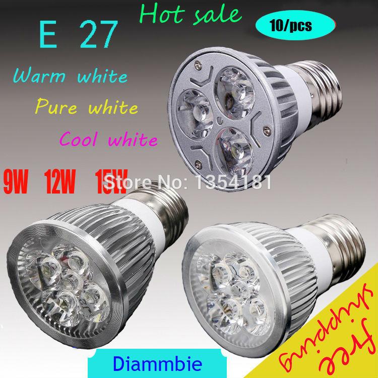 10pcs/lot High power CREE Led Lamp Dimmable E27 9W 12W 15W 110V 220V Led spot Light Spotlight led bulb downlight lighting(China (Mainland))