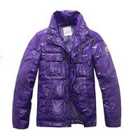 Promotion 2014 Elegant Men Brand Down Jacket Black Purple Color Down Coat Short Design Quality Down For Men Free Shipping