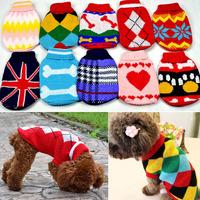 wholesale  mixed 5pcs/lot Pet Dog Warm Jumper Sweater Clothes Puppy Cat Knitwear Costume Coat Apparel New