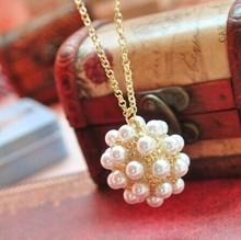 JAN NEW! Fashion Europe elegant pearl ball necklace Wholesale N122(China (Mainland))