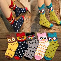 Crazsox women high top socks cartoon owl socks for women 3D cotton and nylon socks